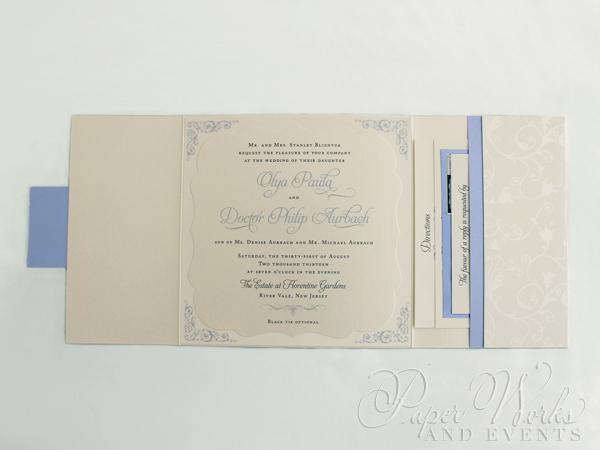 Patterend Square Pocket fold Die Cut Layered Wedding Invitation 5 paperworksandevents.com