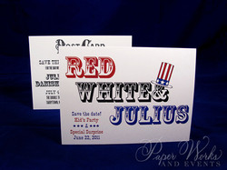 4th of July Bar Mitzvah Invitation 6 letterpress paperworksandevents.com
