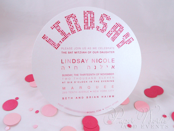 Cute Pink and Red Polka Dot Circle Shimmer Paper Invitation 2 paperworksandevents.com