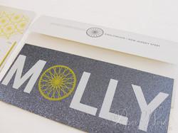 Modern Letterpress Foil Stamped Glitter Bat Mitzvah Invitation 5 paperworkandevents