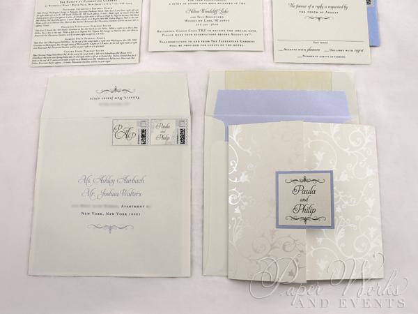 Pearl foil stamped floral patterend Square Pocket fold (1)
