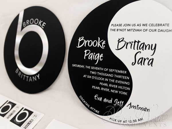 Ying Yang Double Sided Foil Stamped Beats by Dre Invitation 3 Custom Stamps paperworksandevents