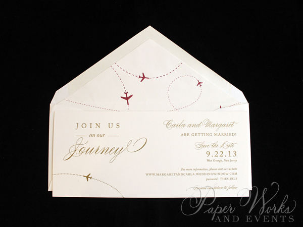Elegant Plane Travel Red and Gold Save the Date4 paperworksandevents.com
