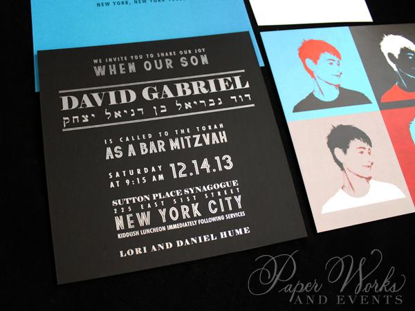 Pop Art Bar Mitzvah Invitation Suite Custom Stamps 2 paperworksandevents.com