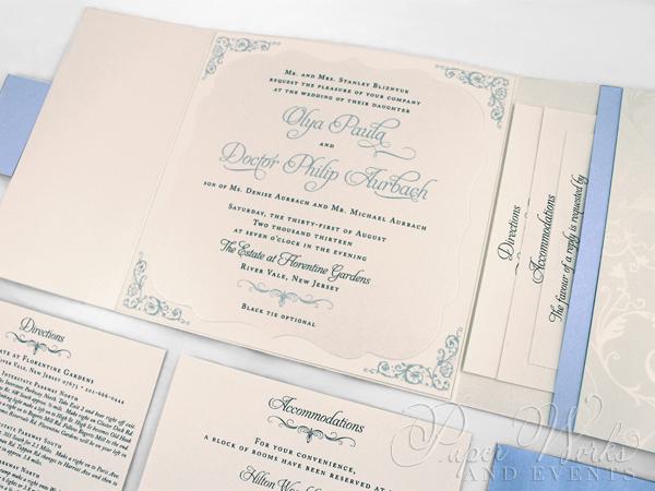 Patterend Square Pocket Die Cut Layered Wedding Invitation 3 paperworksandevents.com