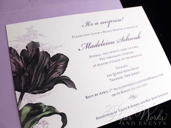 Purple Floral Bridal Shower Invitation 3 paperworksandevents.com