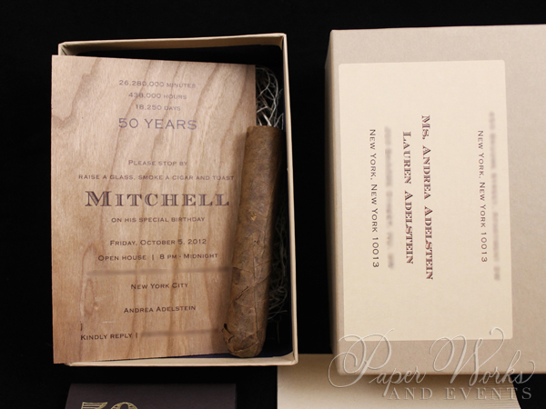 Masculine Wooden Invitation Cigar Box 2 Cigar Match Box Foilstamped Napkins paperworksandevents.com