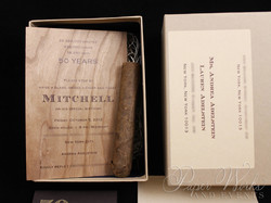 Masculine Wooden Invitation Cigar Box 2 Cigar Match Box Foilstamped Napkins paperworksandevents.com