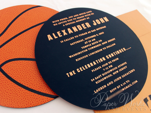 Basketball Two Sided Layered Foil Stamped Bar Mitzvah Invitation 4 paperworksandevents