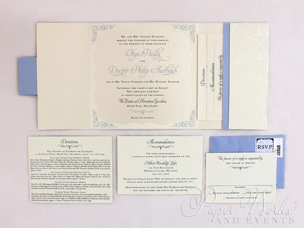 Patterend Square Pocket fold Die Cut Layered Wedding Invitation 4 paperworksandevents.com