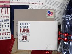 4th of July Bar Mitzvah Invitation 8 letterpress paperworksandevents.com