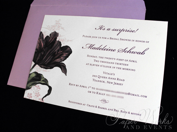 Purple Floral Bridal Shower Invitation 2 paperworksandevents.com