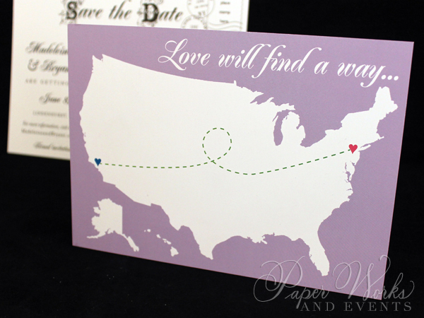 Cute Fun Long Distance Theme Post Card Save the Date 4 paperworksandevents.com .