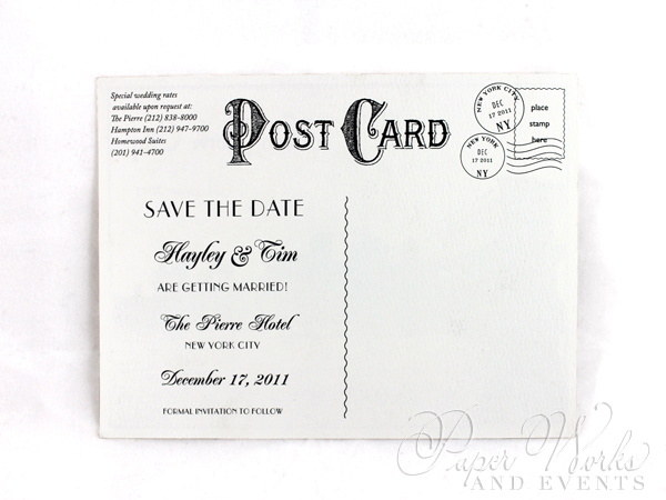 Classic Vintage Post Card Save the Date Black and White 2 paperworksandevents