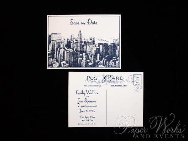 Vintage NYC Post Card Save the Date 3 paperworksandevents.com