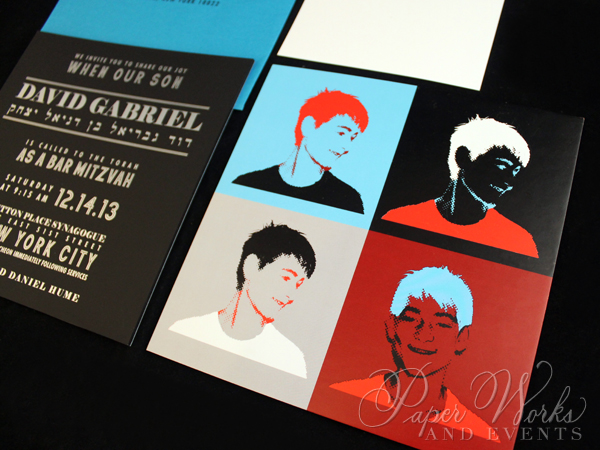 Pop Art Bar Mitzvah Invitation Suite Custom Stamps 3 paperworksandevents.com