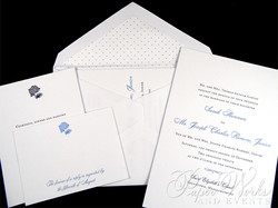 Letterpress Wedding Invitation with accents of hydrangeas