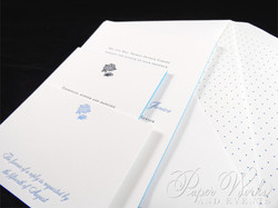 Letterpress Wedding Invitation with accents of hydrangeas (2)