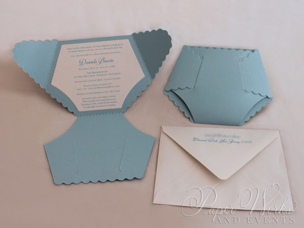Dye Cut Baby Blue Diaper Baby Shower Invitation 1 paperworksandevents.com