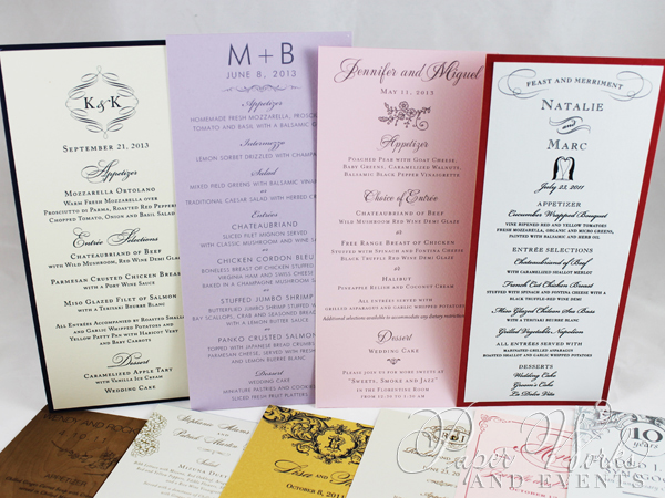 Rectangular Event Menus Multi Sizes 3 pa