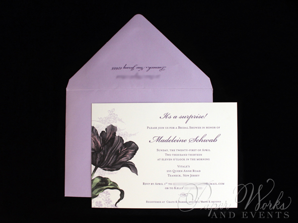 Purple Floral Bridal Shower Invitation 1 paperworksandevents.com