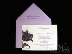 Purple Floral Bridal Shower Invitation 1 paperworksandevents.com