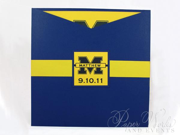 Football Team Yellow and Blue Sleeve Invitation 4 paperworksandevents.com
