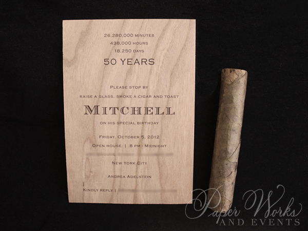 Masculine Wooden Invitation Cigar Box 5 Cigar Match Box Foilstamped Napkins paperworksandevents.com