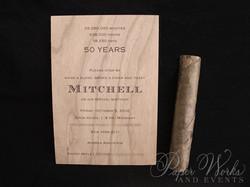 Masculine Wooden Invitation Cigar Box 5 Cigar Match Box Foilstamped Napkins paperworksandevents.com