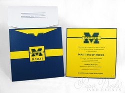 Football Team Yellow and Blue Sleeve Invitation 2 paperworksandevents.com