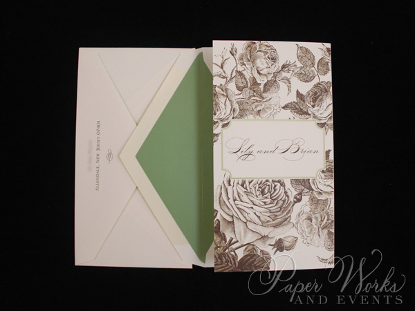 Elegant Floral Tri Fold After Wedding Celebration Invitation 2 paperworksandevents.com