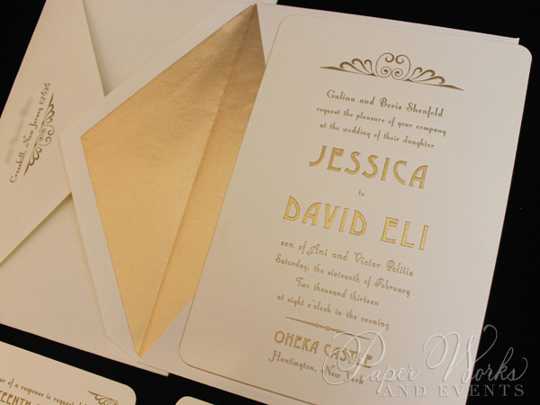 Gilded and Engraved Art Deco Wedding Inv