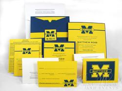 Football Team Yellow and Blue Sleeve Invitation 1 paperworksandevents.com