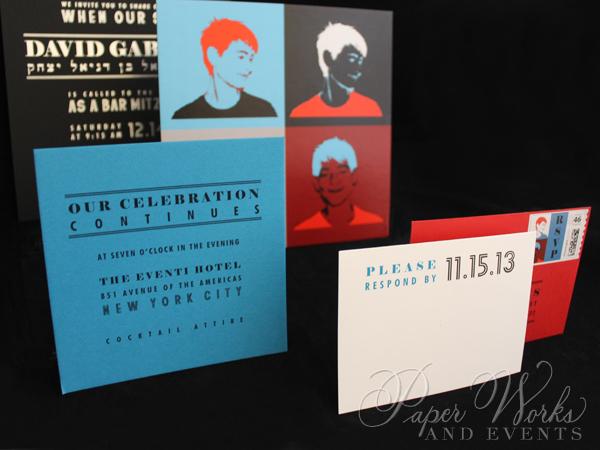 Pop Art Bar Mitzvah Invitation Suite Custom Stamps 4 paperworksandevents.com