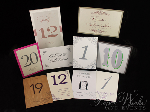 Custom Table Numbers Wood Lucite 4 paper