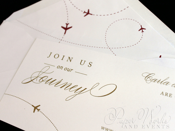 Elegant Plane Travel Red and Gold Save the Date 3 paperworksandevents.com