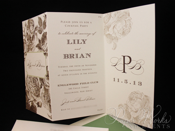 Elegant Floral Tri Fold After Wedding Celebration Invitation 4 paperworksandevents.com