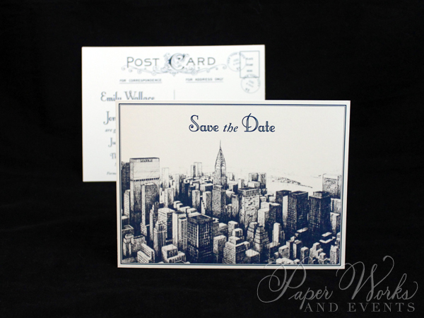 Vintage NYC Post Card Save the Date 2 paperworksandevents.com