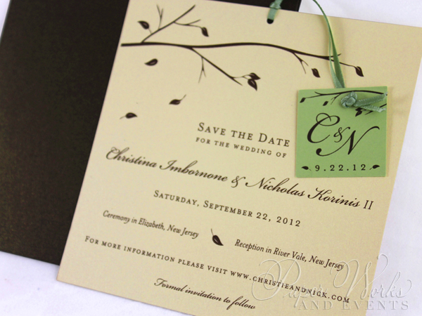 Fall Wedding Save the Date 2 trees candy apple paperworksandevents.com