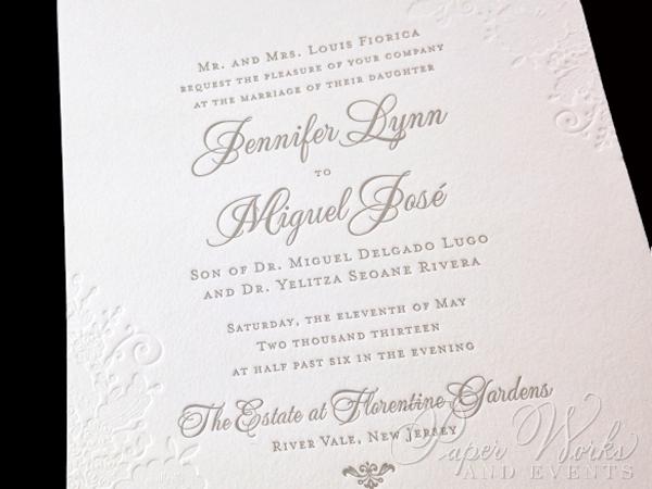 Lace pattern letterpress Wedding Invitation