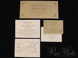 Elegant Bilingual Wedding Invitation with ornate corner designs (5)