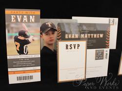 High Gloss Rounded Corner Baseball Ticket Bar Mitzvah Invitation 1 paperworksandevents.com