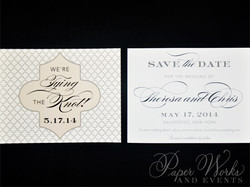 Cream and White Patterned Save the Date