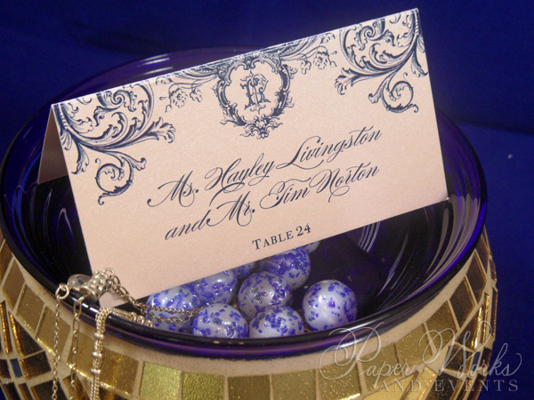 Orante Blue and Gold Pocket Wedding Invi