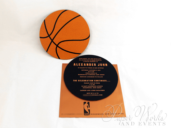 Basketball Two Sided Layered Foil Stamped Bar Mitzvah Invitation 3 paperworksandevents