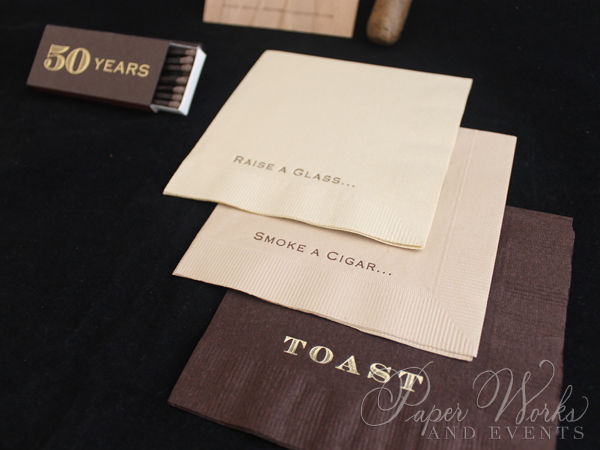 Masculine Wooden Invitation Cigar Box 6 Cigar Match Box Foilstamped Napkins paperworksandevents.com
