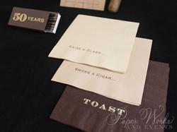 Masculine Wooden Invitation Cigar Box 6 Cigar Match Box Foilstamped Napkins paperworksandevents.com