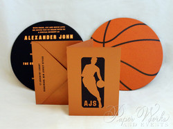 Basketball Two Sided Layered Foil Stamped Bar Mitzvah Invitation 7 paperworksandevents