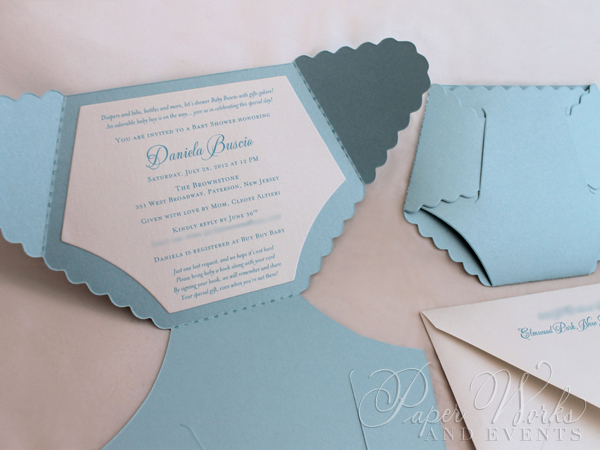 Dye Cut Baby Blue Diaper Baby Shower Invitation 3 paperworksandevents.com