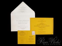 Custom Yellow Rehearsal Dinner Post Card  Invitation 1 paperworksandevents.com